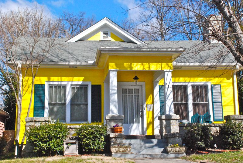 Houses of the Rainbow- Lemon Yellow - Greensboro Daily Photo
